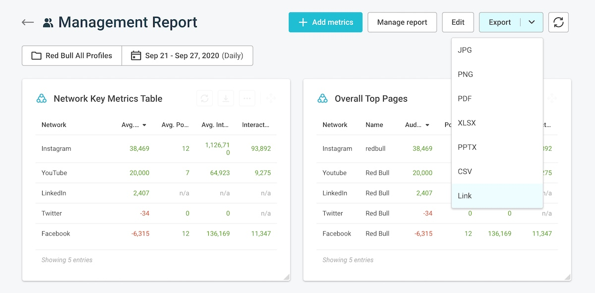 How to export a social media report in quintly